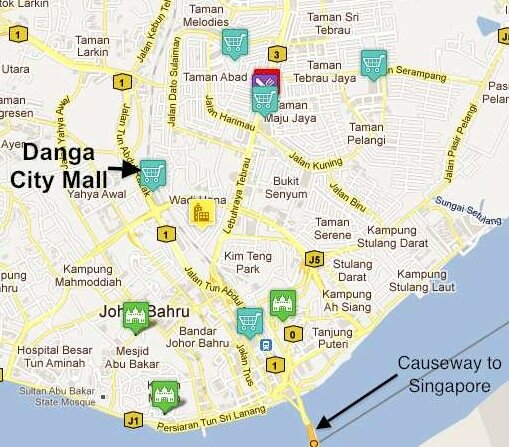 Map of downtown Johor Bahru, showing Danga City Mall