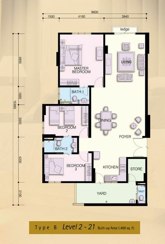 floorplan for Molek Pine condo, type b