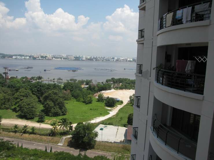 photo of the sea view from balcony at the Straits View Condo in JB