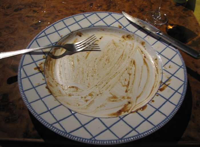 photo of my plate after I finished my steak