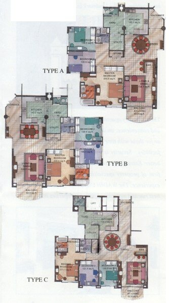 3 styles of floorplans for Wadihana condos