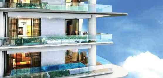 Artist conception of planned Blue Infinity condos.