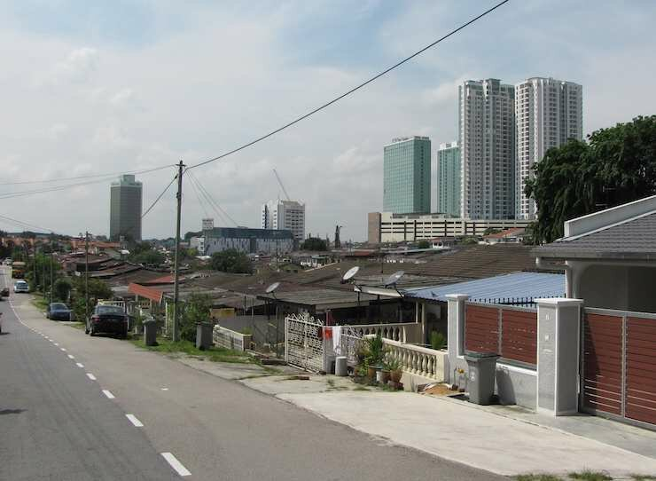 Johor Bahru street with KSL in the background