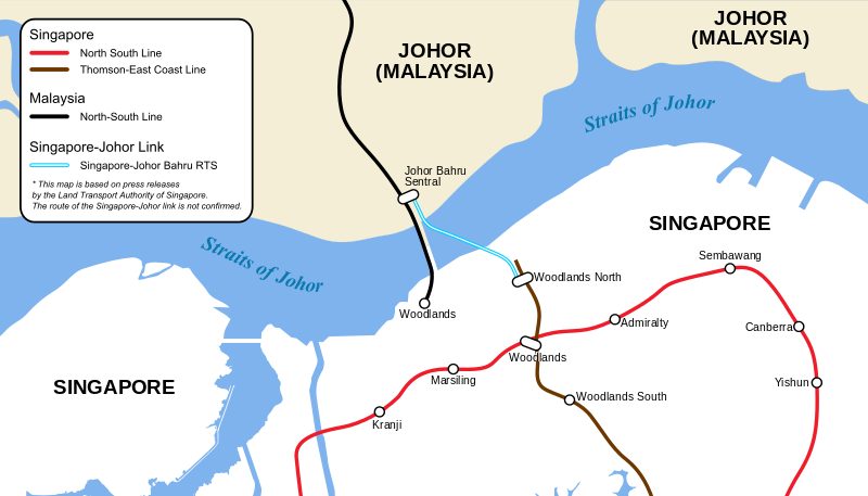 graphic showing the Singapore JB MRT connection